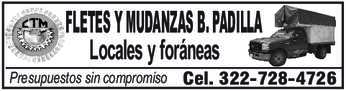 anuncio de FLETES Y MUDANZAS B. PADILLA Locales y foráneas  Presupuestos sin compromiso  Cel. 322-728-4726