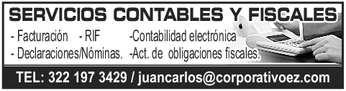anuncio de SERVICIOS CONTABLES Y FISCALES -Contabilidad electrónica - Facturación - RIF - Declaraciones/Nóminas. -Act. de obligaciones fiscales. TEL: 322 197 3429 / juancarlos@corporativoez.com