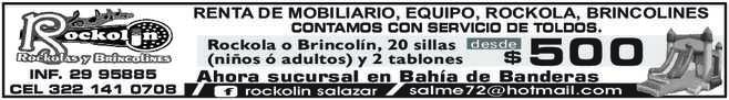 anuncio de ROCKOLIN  RENTA DE MOBILIARIO, EQUIPO, ROCKOLA, BRINCOLINES CONTAMOS CON SERVICIO DE TOLDOS.  Rockola o Brincolín, 20 sillas (niños ó adultos) y 2 tablones  INF. 29 95885 CEL 322 141 0708  salme72@hotmail.com