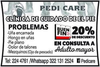 anuncio de PEDI CARE CLÍNICA DEL CUIDADO DEL PIE TEL: 224 4761