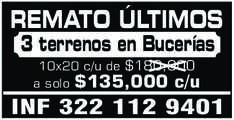 anuncio de REMATO ÚLTIMOS 3 terrenos en Bucerías 10x20 c/u de $180,000 a solo $135,000 c/u INF 322 112 9401