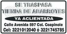 anuncio de SE TRASPASA TIENDA DE ABARROTES YA ACLIENTADA  Calle Avenida 597 Col. Coapinole Cel: 3221012040 ó 3221745785