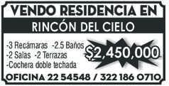 anuncio de Vendo residencia en RINCÓN DEL CIELO -3 Recámaras -2.5 Baños -2 Salas -2 Terrazas -Cochera doble techada $2,450,000 Oficina 22 54548 /  322 186 0710