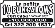 anuncio de LA PEÑICA  1O BUNGALOWS casa a borde de playa $10,000,000 Cel 322 200 1637