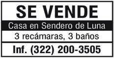 anuncio de SE VENDE Casa en Sendero de Luna 3 recámaras, 3 baños Inf. (322) 200-3505