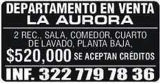 anuncio de DEPARTAMENTO EN VENTA LA AURORA 2 REC., SALA, COMEDOR, CUARTO DE LAVADO, PLANTA BAJA, SE ACEPTAN CRÉDITOS  $520,000 INF. 322 779 78 36