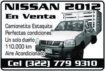anuncio de NISSAN 2012 En Venta Camionetita Estaquita Perfectas condiciones Un solo dueño 110,000 km Aire Acondicionado Cel (322) 779 9310