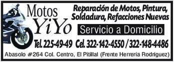 anuncio de Motos YiYo Reparación de Motos, Pintura, Soldadura, Refacciones Nuevas  Servicio a Domicilio Tel. 225-49-49 Cel. 322-142-4550 / 322-148-4486 Abasolo #264 Col. Centro, El Pitillal (Frente Herrería Rodríguez)
