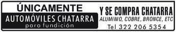 anuncio de ÚNICAMENTE AUTOMÓVILES CHATARRA para fundición  Y SE COMPRA CHATARRA ALUMINIO, COBRE, BRONCE, ETC Tel 322 206 53 54
