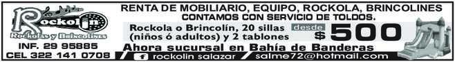 anuncio de RENTA DE MOBILIARIO, EQUIPO, ROCKOLA, BRINCOLINES CONTAMOS CON SERVICIO DE TOLDOS.  Rockola o Brincolín, 20 sillas (niños ó adultos) y 2 tablones  INF. 29 95885 CEL 322 141 0708  desde  500  $ Ahora sucursal en Bahía de Banderas rockolin salazar  salme72@hotmail.com