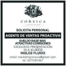 anuncio de GALERÍA DE ARTE CORSICA SOLICITA PERSONAL: *AGENTE DE VENTAS PROACTIVO